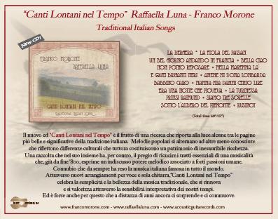 Raffaella Luna - Franco Morone - Cd Canti Lontani nel Tempo